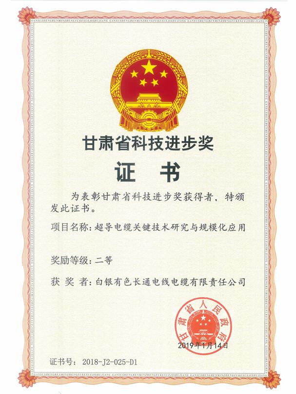 甘肃省科技进步二等奖(超导电缆关键技术研究与规模化应用).png